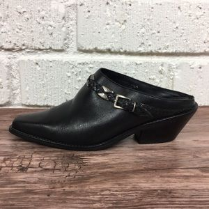 DINGO | Black leather western mules size 6.5